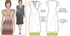Slip on Suzie - Sizes 8, 10, 12 - Mock wrap knit dress PDF Dress Pattern by Style Arc - Instant Download - Sewing Project