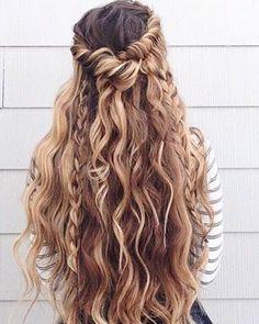 Bohemian hair half up half down hairstyle