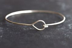 Sterling Silver Teardrop and Hook Bangle  by SDMarieJewelry, $52.00
