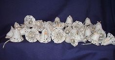 Vintage Wedding Decorations 36 Glittery White Bells with Glass Ball from romancingthepast on Ruby Lane