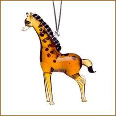 lampwork art glass giraffe ornament
