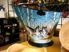 Hand painted coal bucket by Charlene Deleel. Follow me on etsy at etsy.com/shop/TreasuredMountain