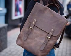 Leather backpack purse leather satchel brown leather backpack bag leather school backpack distressed leather bag leather backpack for school Leather Backpack For Men, Leather Satchel, Leather Purses, Mochila Hipster, Leather Notebook, Leather Gifts, Men's Backpack, Custom Leather, Day Use