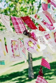 Picnic pennant blowing in the breeze