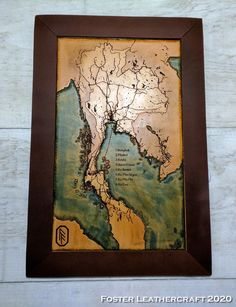 Scale Map, Unique Gifts, Best Gifts, Thailand Honeymoon, Third Anniversary, Custom Map, Leather Craft, Hand Carved, Vintage World Maps