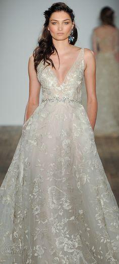 lazaro fall 2017 bridal sleeveless v neck full embellishment elegant romantic a  line wedding dress pocket open v back (06) zv -- Lazaro Fall 2017 Wedding Dresses