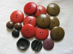 job lot vintage wooden buttons in various shapes sizes and colours