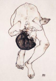 Egon Schiele Uit portrettenspielerei op http://charlottedemey.be/portrettenspielerei/