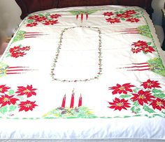 Vintage Christmas Tablecloth California Hand by AtticDustAntiques