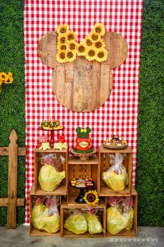 009 Rustic Wood Mouse Head with Sunflower Bow on Red Gingham Plaid Panel under is the Bar Crates- Event Planning: One Inspired Party