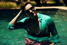#summer #saturated #colour #menswear #jade #shirt #pool #swimwear #model