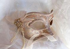 Champagne Brocade Masquerade Mask by DaraGallery.deviantart.com on @DeviantArt