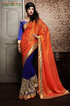 Orange & Blue Color Viscose & Georgette Fabric Saree  http://www.vardhita.co.uk/product-category/sarees/