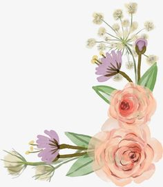 Flower Border, Hand Painted, Flowers, Plant PNG Image