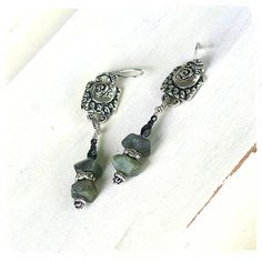 Urban primitive jewelry - Rustic bohemian - Southwestern Style Labradorite Earrings - Long Earrings - Silver Aztec Earrings - Gift for her by rocksandpaperswans