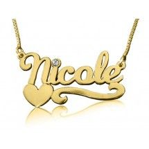 Nicole Heart Solid 14k Gold Name Necklace