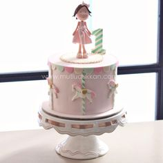 1st birthday girl Cake Pictures, Cake Pics, Cake Designs For Kids, 1st Birthday Cake For Girls, Carousel Cake, Small Cake, Girl Cakes, Fondant Cakes, Cupcake Cookies