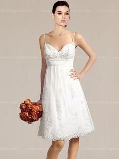 Knee Length Simple Beach Wedding Dresses