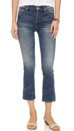 MOTHER Women's The Insider Crop Jeans: Heavy fading lends a work-worn look to these high-rise MOTHER crop jeans. Button closure and zip fly. High Waisted Cropped Jeans, Crop Jeans, Faded Jeans, Women's Jeans, Alice Olivia, Stella Mccartney, Flare Jeans Outfit, Mother Denim, Denim Trends
