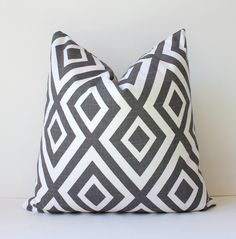 Charcoal Grey Geometric Designer Pillow Cover 18 by WhitlockandCo, $42.00