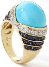 new design from carlo viani: sapphire diamond turquoise ring