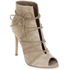 Gianvito Rossi Women 100mm Suede Lace-up Boots (7 865 SEK) ❤ liked on Polyvore featuring shoes, boots, ankle booties, heels, booties, taupe, taupe suede booties, lace up booties, suede ankle booties and lace up boots