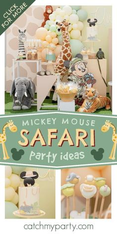 Check out this fun Mickey Mouse Safari birthday party! The cake pops are really cool! See more party ideas and share yours at CatchMyParty.com Birthday Drinks, Safari Birthday Party, Jungle Party, Jungle Safari, Boy Birthday Parties, Party Drinks, Birthday Ideas, Mickey Mouse Cake, Mickey Mouse Parties