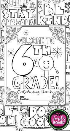 This 6th Grade Back To School Coloring Book Is Designed To Welcome Your New Students With Sim School Coloring Pages School Activities Back To School Activities