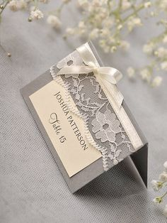 Custom listing 56 Grey Lace Place Card  от forlovepolkadots