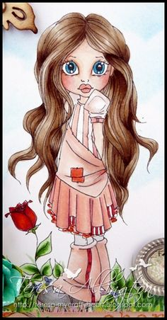 This is Roses are Red from the Saturated Canary site. I love her hair...lots to colour.  I have coloured her with copics and her hair colour is: E59, E55, E50  E34, E31 . Her dress & boots is R32, R29, R22, R30 and E93.  Skin is E00, E000, E0000, R20, R21 & R30.