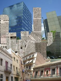 City collage by ~AzaleaTsunamy XP: Like the use of angles, overlapping architecture, newsprint for building shape