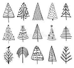 15 designs of doodle christmas trees. to create holiday cards, backgrounds, ornaments, Christmas Doodles, Christmas Art, Handmade Christmas, Christmas Ornaments, Simple Christmas Tree Drawing, Tree Drawing Simple, Christmas Tree Zentangle, Easy Christmas Drawings, Xmas Drawing