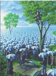 Take a look at this amazing Rob Gonsalves Magic Realism Illusions illusion. Browse and enjoy our huge collection of optical illusions and mind-bending images and videos. Optical Illusion Paintings, Amazing Optical Illusions, Art Optical, Robert Gonsalves, Illusion Kunst, Canadian Painters, Umbrella Art, Blue Umbrella, Surrealism Painting