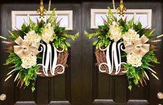 Double Door Wreaths, Double Front Doors, Spring Door Wreaths, Front Door Planters, Front Door Decor, Front Porch, Door Entryway, Foyer, Outdoor Wreaths