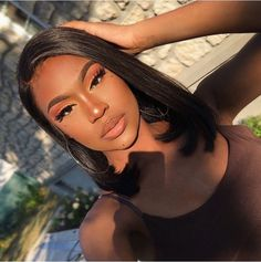 Mar 31 2020 - Lace Front Bob Wigs With Baby Hair Inch Density Straight Short Bob Lace Front Human Hair Wigs (. Make Up Looks, Beauty Make-up, Hair Beauty, Beauty Tips, Natural Beauty, Beauty Ideas, Beauty Care, Beauty Skin, Black Girl Makeup Natural