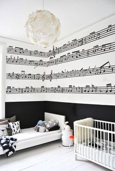 Music Notes Wall Stickers! I absolutely love this!!! Music Bedroom, Dream Bedroom, Music Nursery, Music Inspired Bedroom, Home Music Rooms, White Bedroom, Modern Bedroom, Bedroom Themes, Bedroom Decor