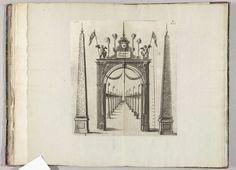 Anonymous | Erepoort bij de Muntpoort, 1582, Anonymous, Hans Vredeman de Vries, 1582 | Erepoort met twee obelisken bij de Muntpoort aan de St. Michaelstraat. Plaat XVI in de beschrijving van de intocht van de hertog van Anjou te Antwerpen, 19 februari 1582.