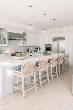 We loved designing the Entry, Living Room, Kitchen, Master Bath, and Powder Bath for our clients at Sea Summit! Home Interior, Kitchen Interior, Kitchen Decor, Kitchen Design, Room Kitchen, Interior Design, Kitchen Ideas, Beach House Kitchens, Home Kitchens