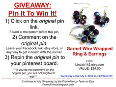 GIVEAWAY - Pin It To Win It: To Win This Item from Lindab142.etsy.com, follow the instructions: Click on ORIGINAL pin, comment leaving a way to contact you, REPIN the ORIGINAL Pin! Contest ends 7/7/12 @ 11:59pm EST. Winner announced 7/8/12.