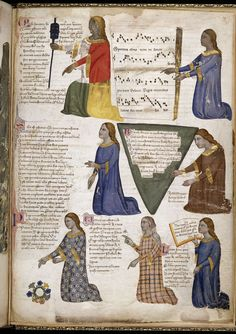 Miniature of Four Muses Polyhymnia, Erato, Terpsichore and Urania and The Seven Liberal Arts by Pacino di Buonaguida, 1335-1340