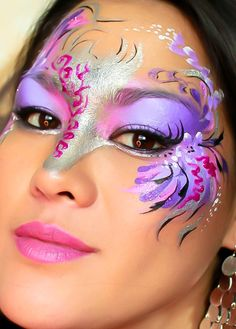 DIY Halloween Makeup : Mardi Gras and Masquerade Masks Party Face Painting Photos - could use with day of the dead.