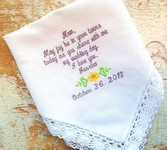 Mom from Bride Wedding heirloom handkerchief by HeirloomWeddings, $30.00