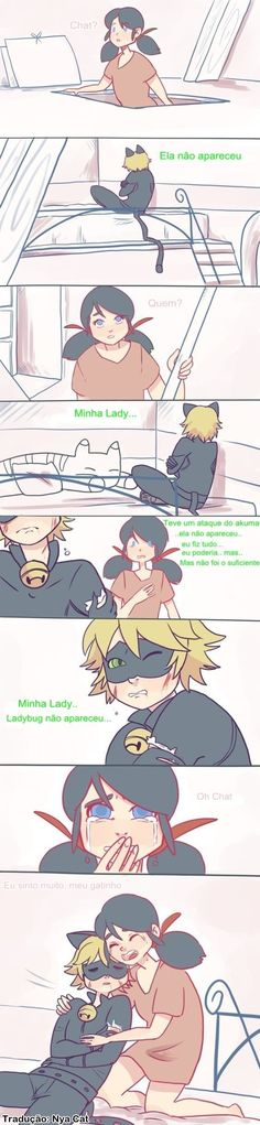 Comic - Miraculous Ladybug - Marinette e Chat Noir..  (maldito cisco que caiu no meu olho...;-;)