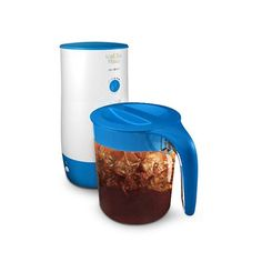 Mr. Coffee TM39P 3 Quart Iced Tea Maker with Pitcher White/Blue - http://teacoffeestore.com/mr-coffee-tm39p-3-quart-iced-tea-maker-with-pitcher-whiteblue/