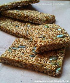 Mi ritmo en cocina ...: Barras de sésamo y miel con semillas de calabaza