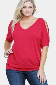 Torrid Size 1 Women's Red Cold Open Shoulder V-Neck Blouse Top 1x 14/16 Shirt    eBay