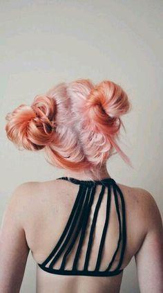 Топик, цветные волосы, пучки, пучок. Color hair, orange