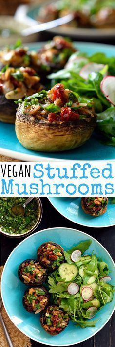 Vegan stuffed mushrooms are easy to make and packed with fresh herb-y, garlicky, citrus-y deliciousness. These little guys are great served as party finger food, a starter or a light main dish when paired with a fresh salad and crusty bread