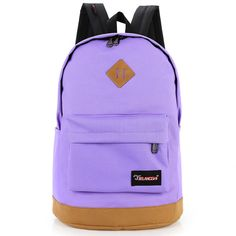Solid color canvas casual backpack purple