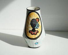 Grande vaso italiano anni 50 vintage vaso graffito e dipinto